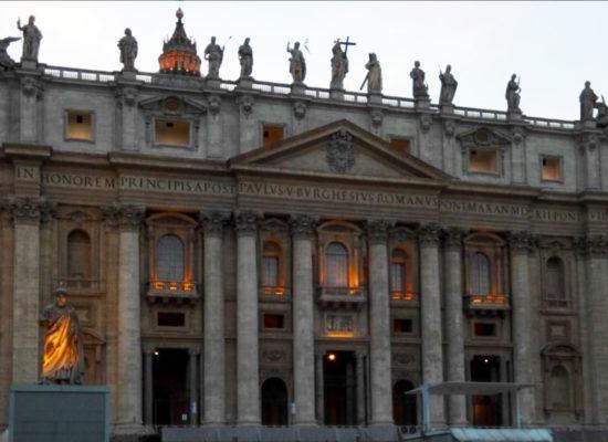 Saint Peters Basilica at light