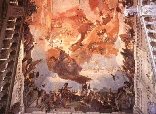 Wurzburg Residence, Fresco by Giambattista Tiepolo on ceiling of entrance, Mesrop Mashtots and Armenian Letters
